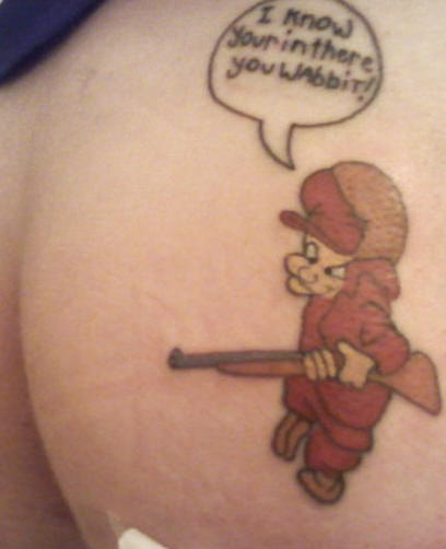 Elmer fudd searching in butt tattoo