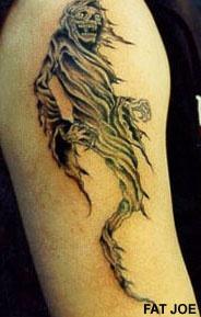 Flying grim reaper tattoo