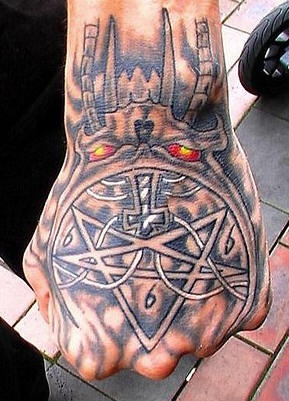 Evil,sharp edges, triangles, cross  hands tattoo