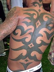 Large full back tribal tattoo