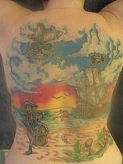 Pirate seascape themed full back tattoo