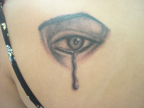 Eye with teardrop tattoo