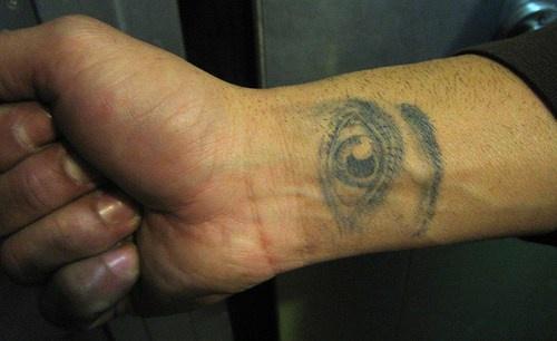 Realistic eye wrist tattoo