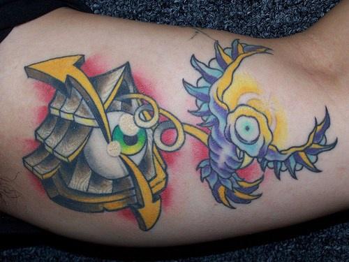 bulbo oculare passero e casa tatuaggio colorato