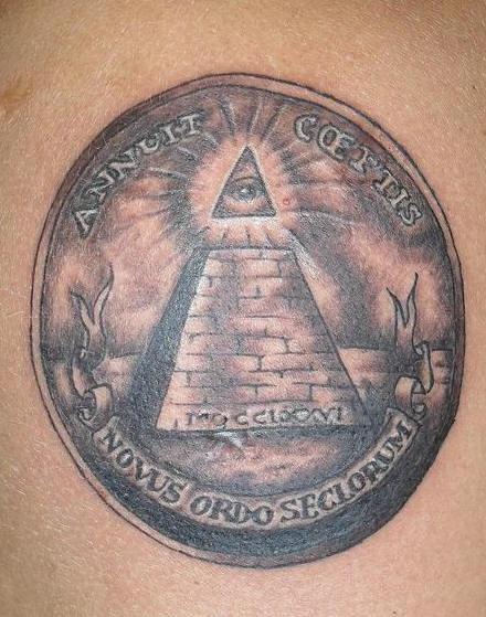 Dollar eye pyramid tattoo