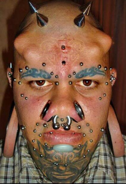 Eyebrows & beard face tattoo