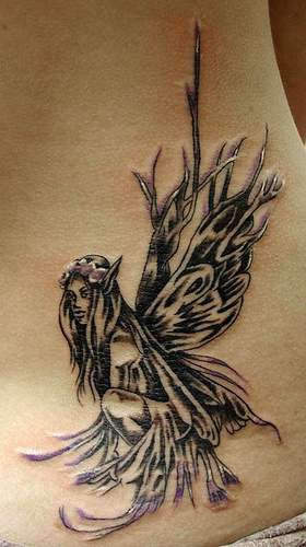 Black and white forest fairy tattoo