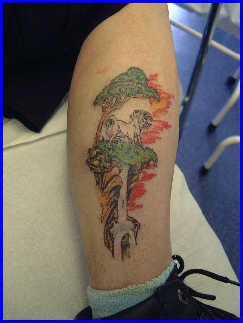 Beautiful unicorn on waterfall tattoo