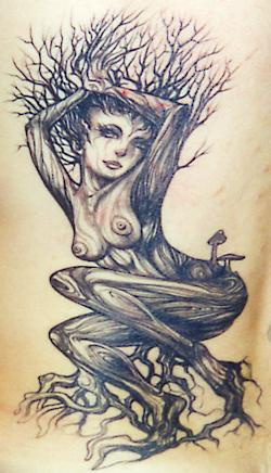 Sexy naked dryad tattoo