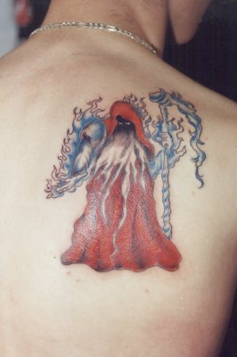 Wizard in red cape tattoo