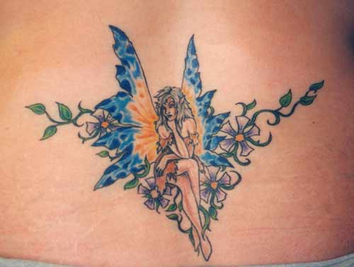 Marvelous fairy tracery tattoo in colour