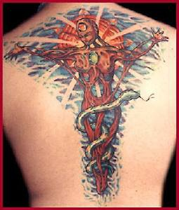 Colourful woman on cross surreal tattoo