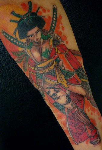 Female japanese warrior in full color