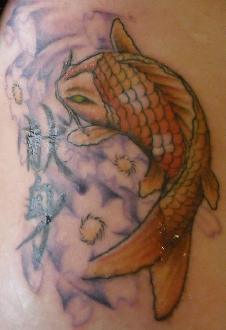 Feminine koi fish and kanji tattoo