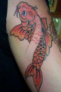 Pretty nice goldfish tattoo art