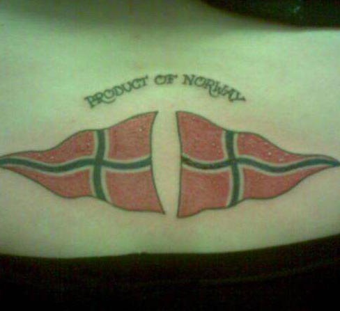 Norway flags tattoo on lower back for Norwegian flower tattoo