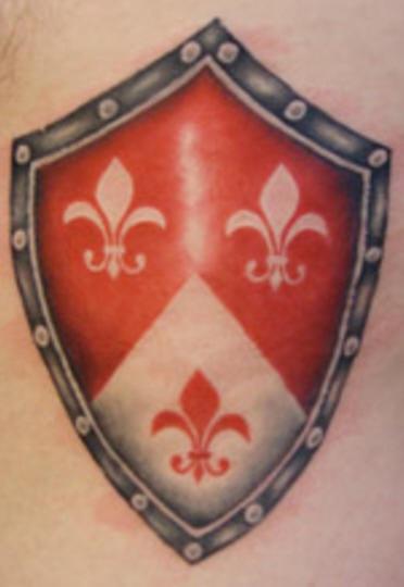 fleur di lis in scudo araldico tatuaggio