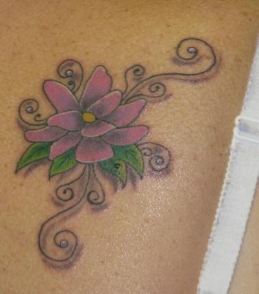 Shoulder tattoo, violet , climbing flower