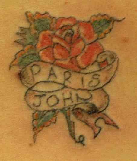 Paris and john on rose tattoo