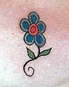 Minimalistic blue flower tattoo