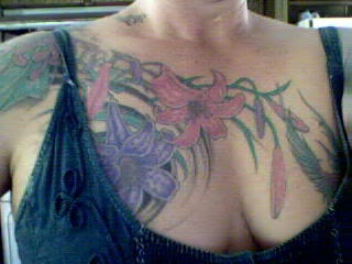 Large bunch of flowers on chest