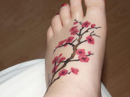 Beautiful delicate pink sakura foot tattoo
