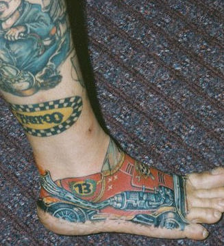 Race shoes foot tattoo