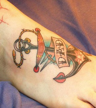 Marine anchor with love to DAD foot tattoo