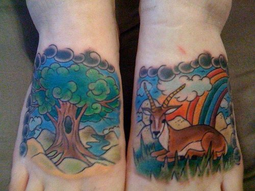 Deer in colourful nature foot tattoo