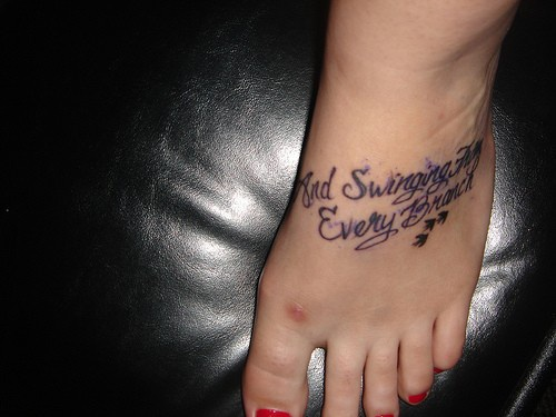 And swinging for every branch inscription foot tattoo