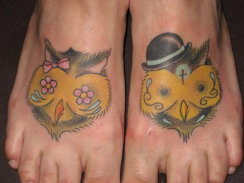 Nice owls, lady and gentleman foot tattoo