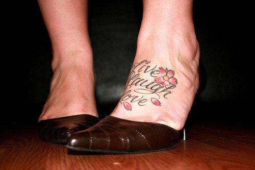 Live, laugh, love- women&quots foot tattoo