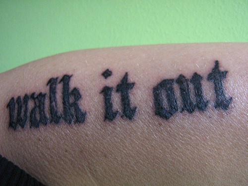 Walk it out, styled accurate bold black forearm tattoo