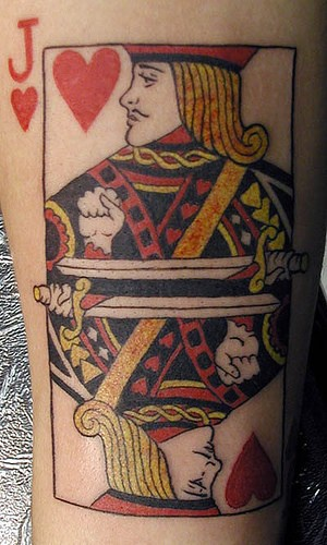 Jack of hearts, colourful devil&quots books forearm tattoo