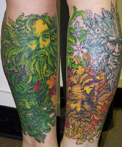 Leg tattoo, four seasons , decorated men&quots faces