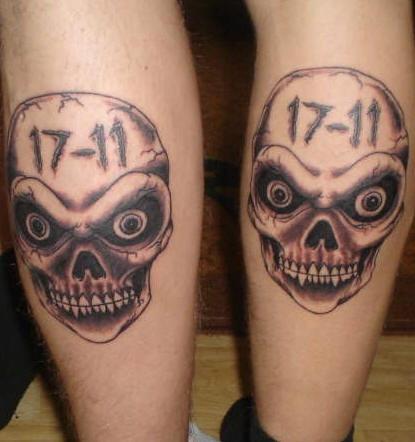 Evil friendship skull tattoos