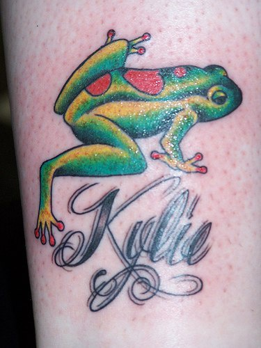 Kylie the frog tattoo in colour