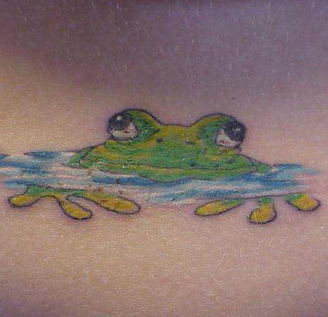 Frog in water tattoo in colour