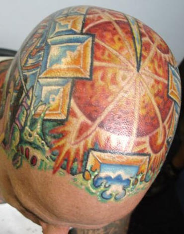 Full color head tattoo, sunny citytown, houses