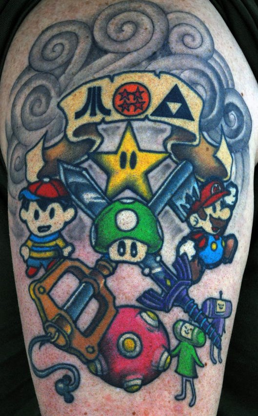 Epic old school gamer tattoo