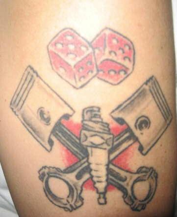 Lucky racer coloured tattoo