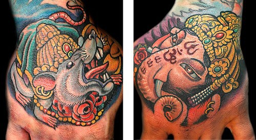 Coloured indian deity both hands tattoo