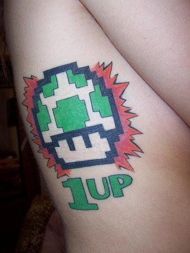 Mario level up coloured tattoo