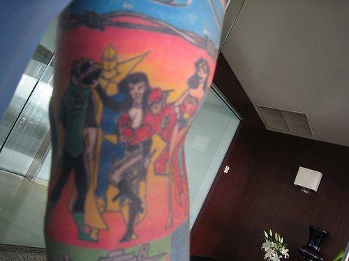 Dc comics heroes colourful tattoo