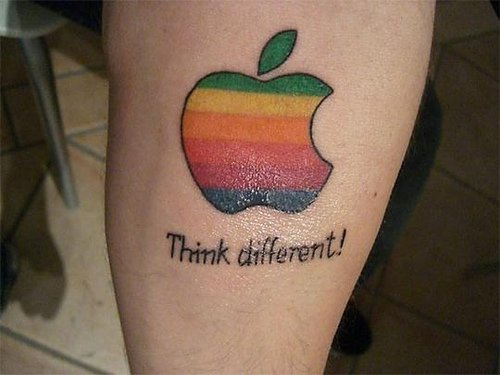 Colourful Apple logo tattoo