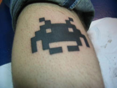 Eight bit space invaders black ink tattoo