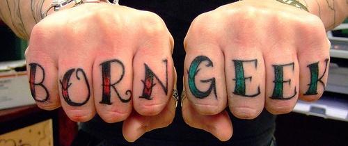 Born geek knuckles tattoo