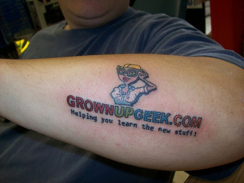 Web page advertisement tattoo on arm