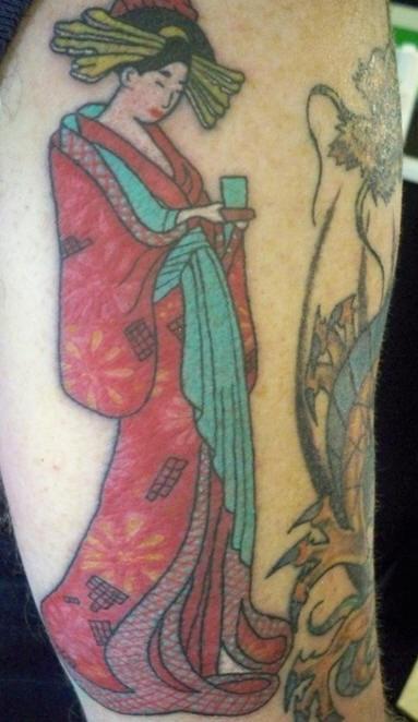 Geisha girl arm tattoo