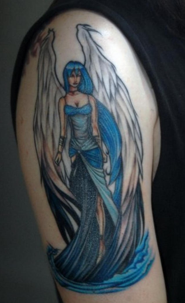 Girl shoulder tattoo,blue, elegant, winged fairy